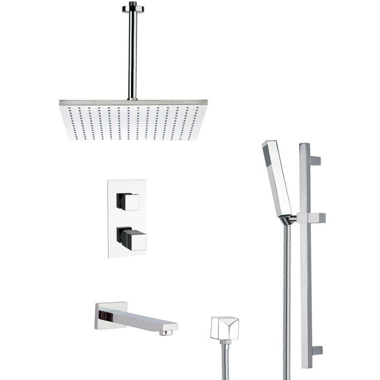 REMER TSR9401 GALIANO THERMOSTATIC TUB AND SHOWER FAUCET WITH SLIDE RAIL IN CHROME