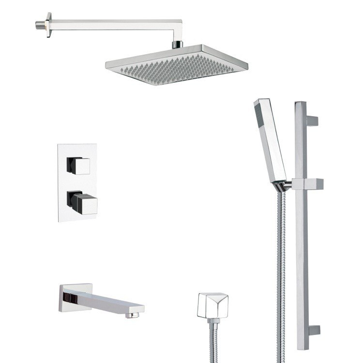 REMER TSR9402 GALIANO THERMOSTATIC SQUARE TUB AND SHOWER FAUCET WITH SLIDE RAIL IN CHROME