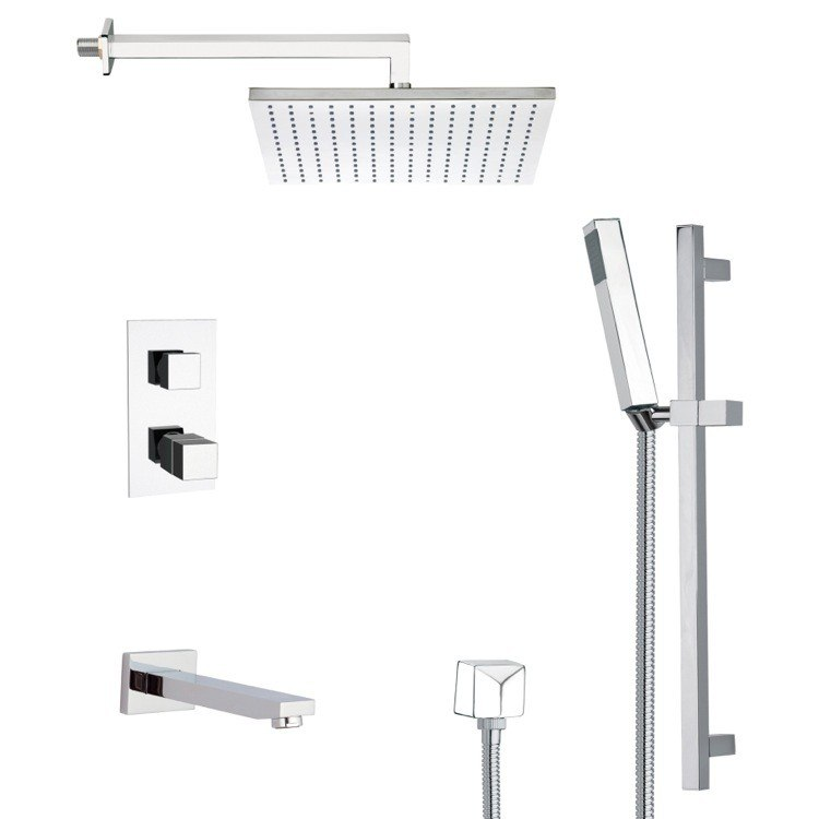 REMER TSR9403 GALIANO MODERN SQUARE TUB AND THERMOSTATIC SHOWER FAUCET WITH SLIDE RAIL IN CHROME