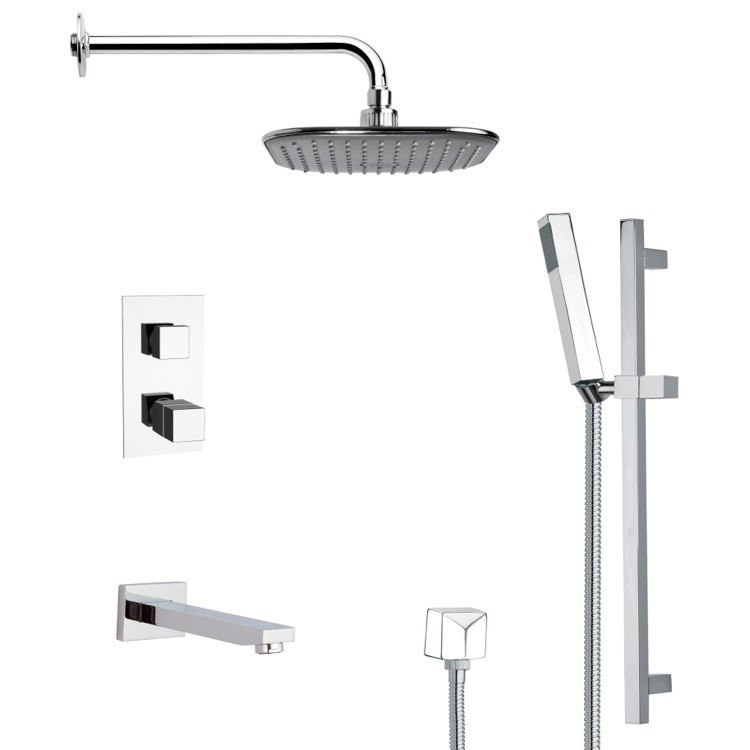 REMER TSR9404 GALIANO MODERN SQUARE TUB AND THERMOSTATIC SHOWER FAUCET WITH SLIDE RAIL IN CHROME