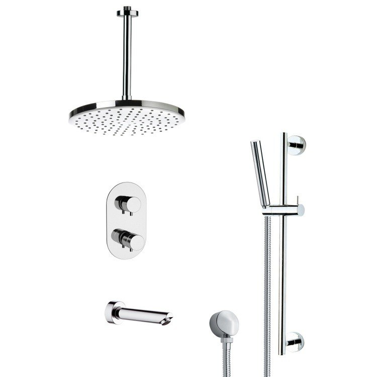 REMER TSR9405 GALIANO ROUND MODERN CHROME TUB AND THERMOSTATIC SHOWER FAUCET WITH SLIDE RAIL