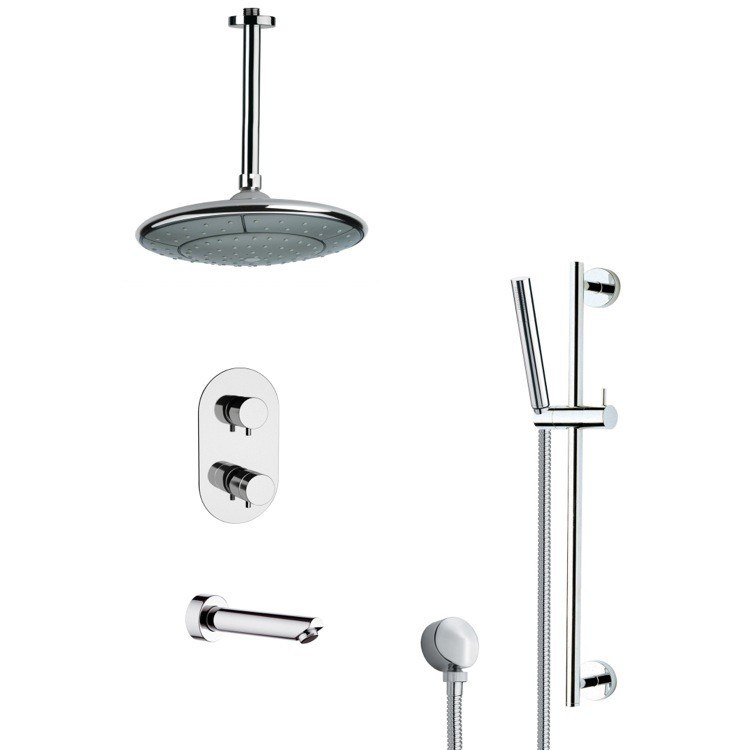 REMER TSR9406 GALIANO ROUND MODERN CHROME TUB AND THERMOSTATIC SHOWER FAUCET WITH SLIDE RAIL
