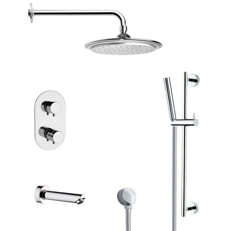REMER TSR9407 GALIANO ROUND THERMOSTATIC CHROME TUB AND SHOWER FAUCET WITH SLIDE RAIL