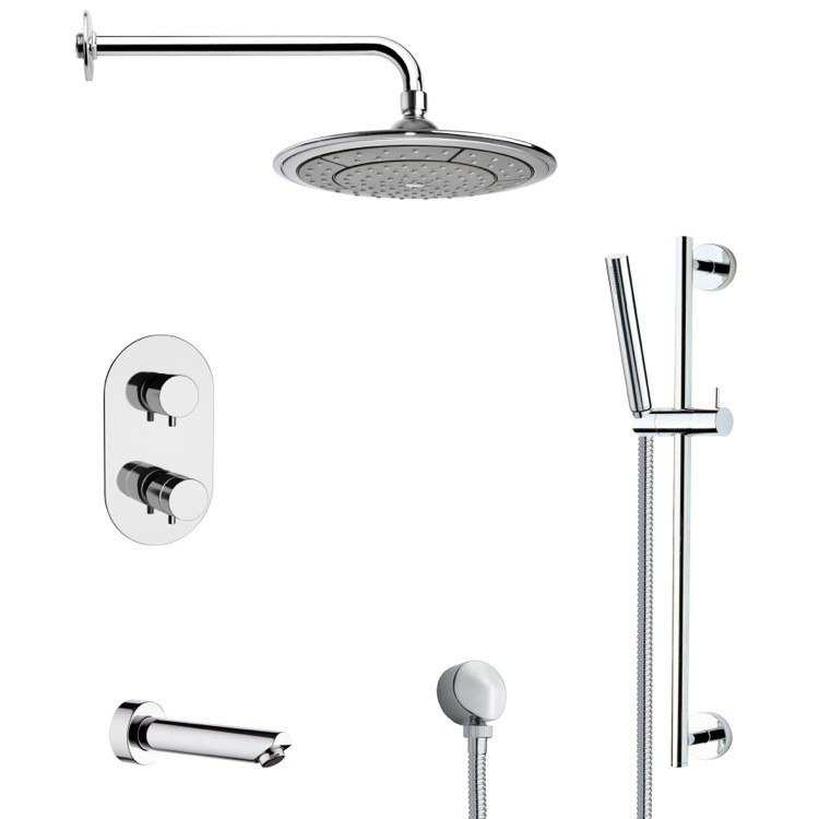 REMER TSR9408 GALIANO ROUND THERMOSTATIC CHROME TUB AND SHOWER FAUCET WITH SLIDE RAIL
