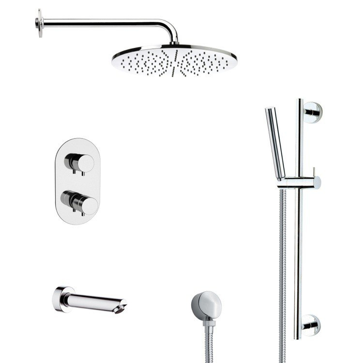 REMER TSR9409 GALIANO ROUND THERMOSTATIC CHROME TUB AND SHOWER FAUCET WITH SLIDE RAIL