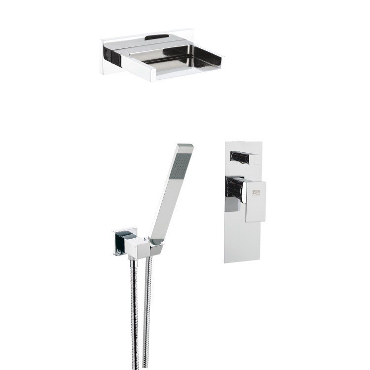 REMER Z09S02US FLASH SHOWER SET WITH WATERFALL JET, DUPLEX SHOWER, FLEXIBLE HAND SHOWER, AND MIXER WITH DIVERTER IN CHROME