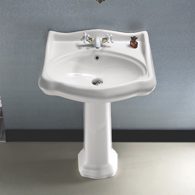 CERASTYLE 030200-PED 1837 24 X 21 INCH CLASSIC-STYLE WHITE CERAMIC PEDESTAL SINK