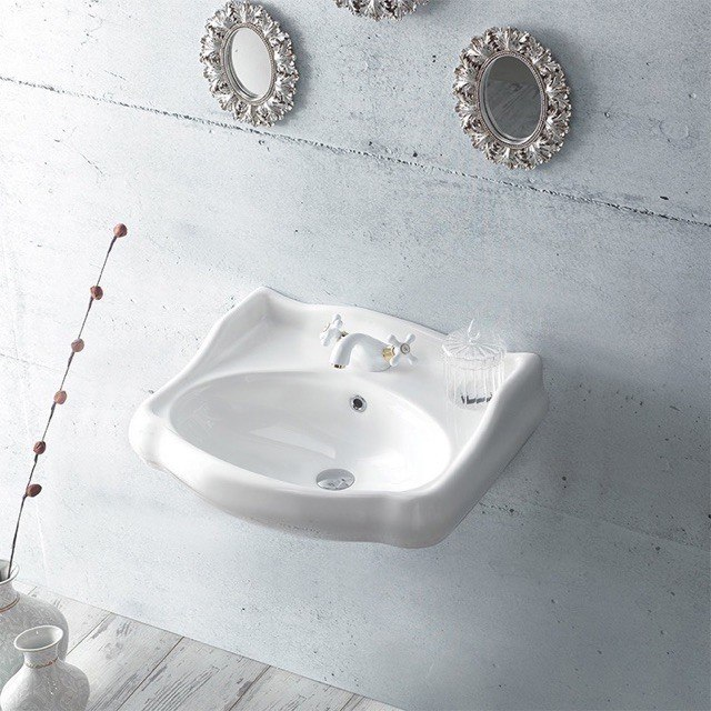 CERASTYLE 030200-U 1837 24 X 21 INCH CLASSIC-STYLE WHITE CERAMIC WALL MOUNTED SINK