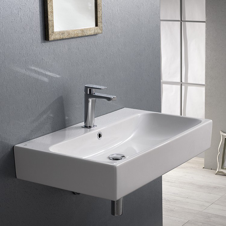 CERASTYLE 080000-U PINTO 30 X 19 INCH RECTANGULAR WHITE CERAMIC WALL MOUNTED OR VESSEL BATHROOM SINK