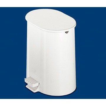 GEDY 2509-02 ARGENTA ROUND WHITE WASTE BIN WITH PEDAL