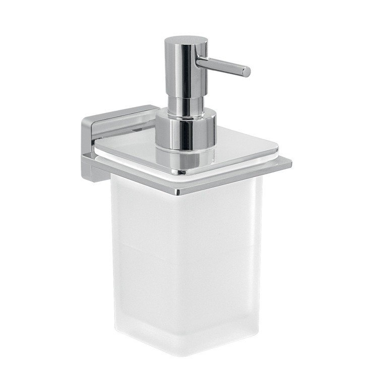 GEDY 4481 ATENA GLASS SOAP DISPENSER WITH WALL MOUNTED HOLDER