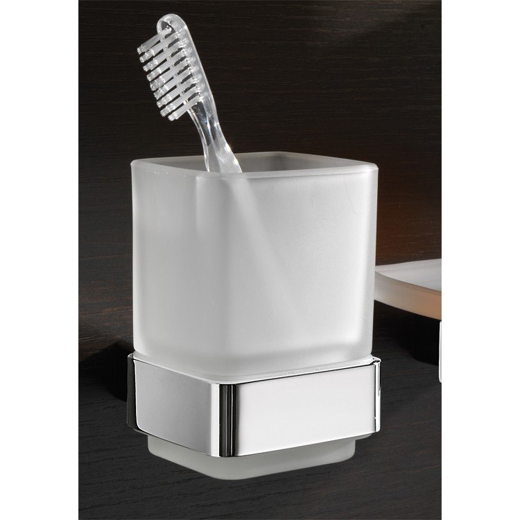 GEDY 5410 LOUNGE WALL MOUNTED FROSTED GLASS TOOTHBRUSH HOLDER