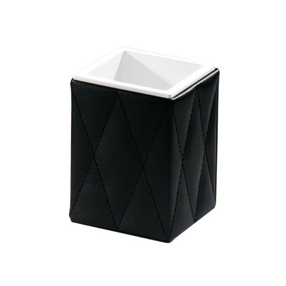 GEDY 5998-55 PALACE FAUX LEATHER TOOTHBRUSH HOLDER IN BLACK FINISH