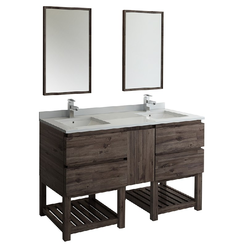 Groovy Fresca Fvn31 241224Aca Fs Formosa 60 Inch Floor Standing Double Sink Modern Bathroom Vanity With Open Bottom And Mirrors In Acacia Wood Finish Download Free Architecture Designs Xoliawazosbritishbridgeorg