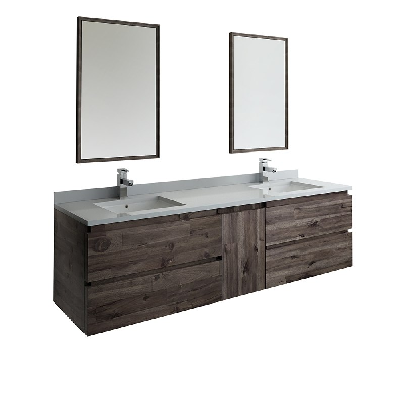 Fresca Fvn31 301230aca Formosa 72 Inch Wall Hung Double Sink Modern Bathroom Vanity With Mirrors In