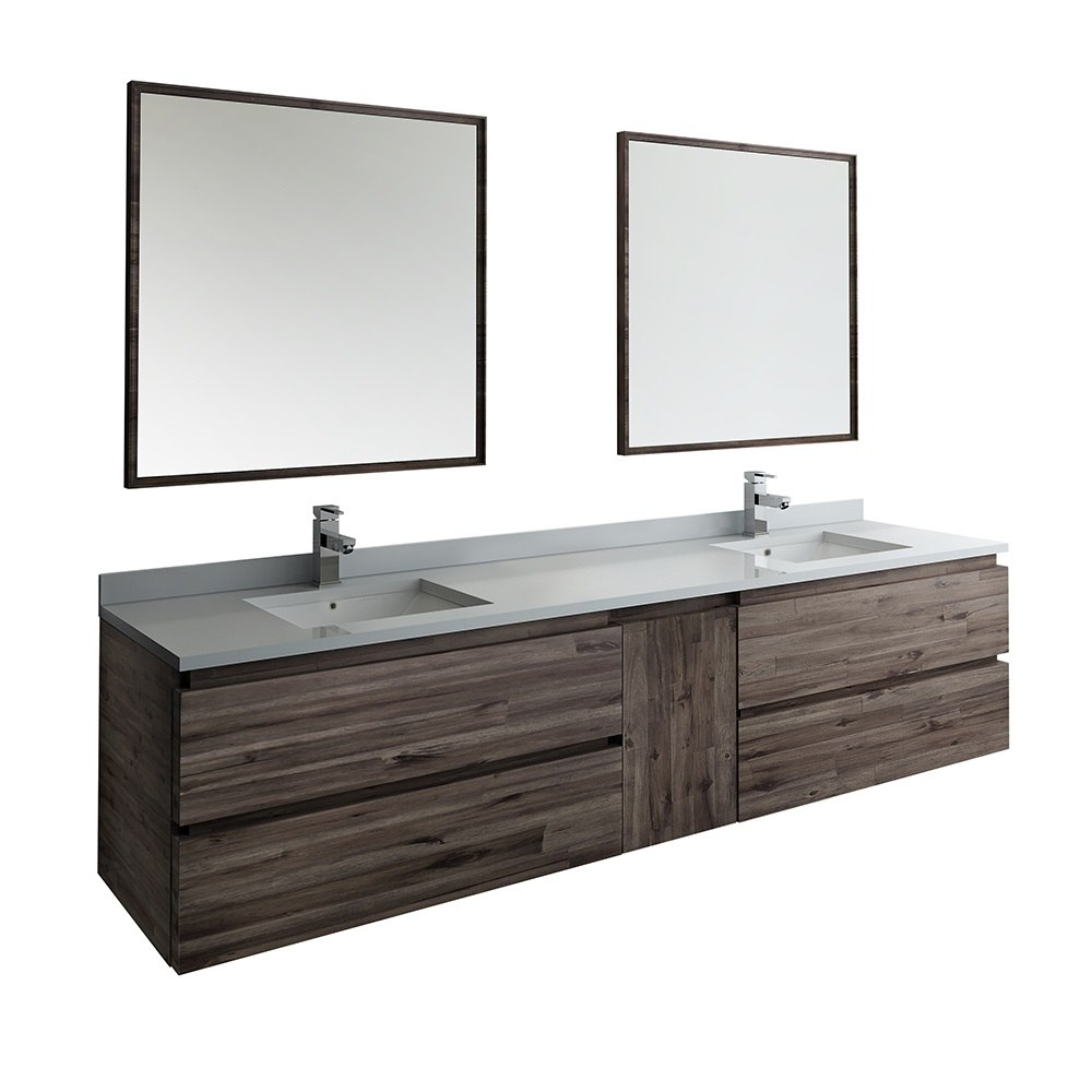 Fresca Fvn31 361236aca Formosa 84 Inch Wall Hung Double Sink Modern Bathroom Vanity With Mirrors In Acacia Wood Finish