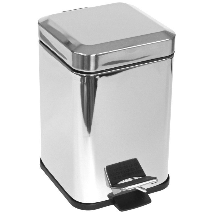 GEDY 2209 ARGENTA SQUARE WASTE BIN WITH PEDAL