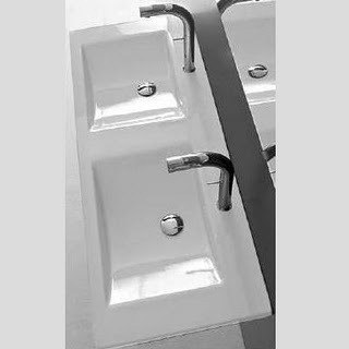 ALTHEA 30113 KLOC 49 X 20 INCH CERAMIC SINK - DOUBLE - WHITE AND SELF RIMMING