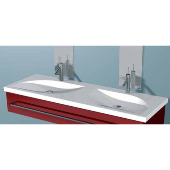 ALTHEA 30116 PLAY 57 X 20 INCH CERAMIC BATHROOM SINK - DOUBLE AND SELF RIMMING