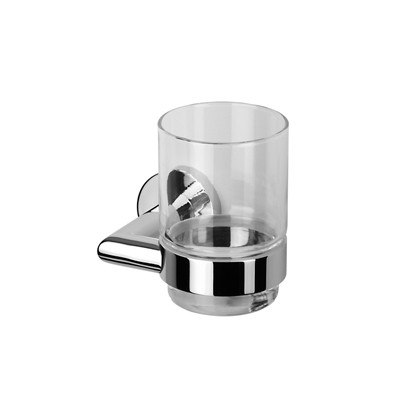 GEESA 6502 NEMOX COLLECTION WALL MOUNTED GLASS TUMBLER WITH HOLDER