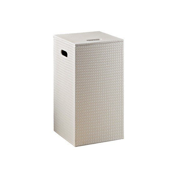GEDY 6738 MARRAKECH PEARL FAUX LEATHER LAUNDRY HAMPER AND STOOL