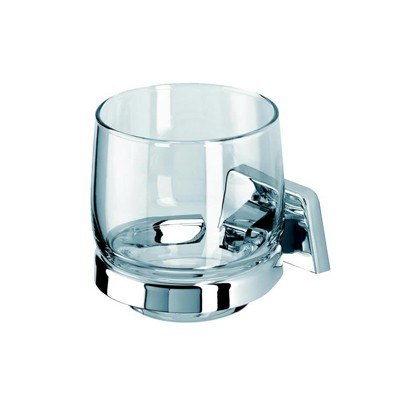 GEESA 7138 STANDARD HOTEL CLEAR GLASS WALL MOUNTED BATHROOM TUMBLER WITH CHROME HOLDER