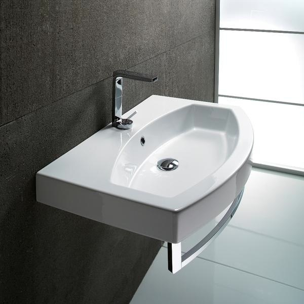 GSI 752211-TB LOSAGNA 32 X 20 INCH WALL MOUNTED WHITE CERAMIC SINK WITH INCLUDED TOWEL BAR