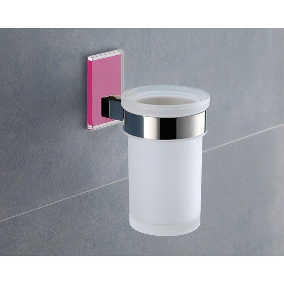 GEDY 7810 MAINE WALL MOUNTED FROSTED GLASS TOOTHBRUSH HOLDER WITH MOUNTING