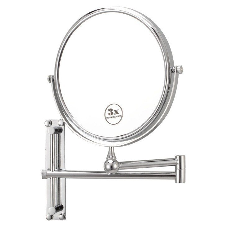 NAMEEKS AR7708-3X GLIMMER ROUND WALL MOUNTED DOUBLE FACE 3X MAKEUP MIRROR