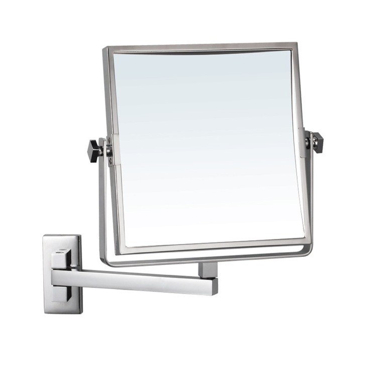NAMEEKS AR7709-CR-3X GLIMMER SQUARE WALL MOUNTED 3X MAKEUP MIRROR IN CHROME FINISH