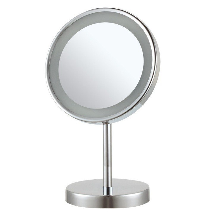 NAMEEKS AR7711-CR-3X GLIMMER ROUND FREE STANDING 3X LED MAKEUP MIRROR IN CHROME