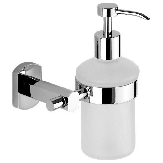 GEDY ED81-13 EDERA WALL MOUNTED ROUND FROSTED GLASS SOAP DISPENSER IN CHROME