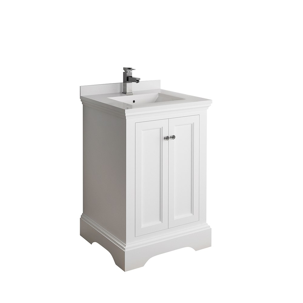 FRESCA FCB2424WHM-CWH-U WINDSOR 24 INCH MATTE WHITE TRADITIONAL BATHROOM CABINET WITH TOP AND SINK