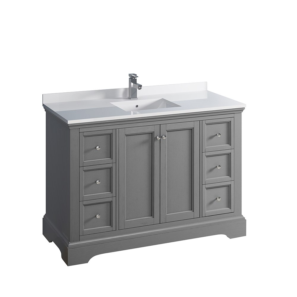 Fresca Fcb2448grv Cwh U Windsor 48 Inch Gray Textured Traditional Bathroom Cabinet With Top And Sink