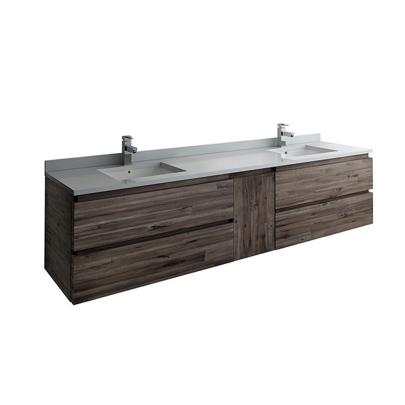 FRESCA FCB31-361236ACA-CWH-U FORMOSA 84 INCH WALL HUNG DOUBLE SINK MODERN BATHROOM CABINET WITH TOP AND SINKS IN ACACIA WOOD FINISH