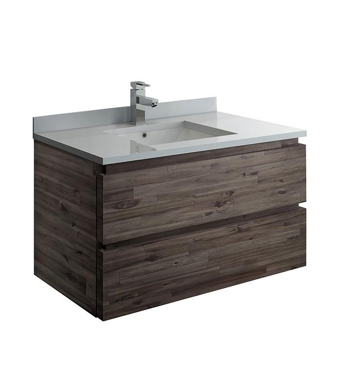 FRESCA FCB3136ACA-CWH-U FORMOSA 36 INCH WALL HUNG MODERN BATHROOM CABINET WITH TOP AND SINK IN ACACIA WOOD FINISH