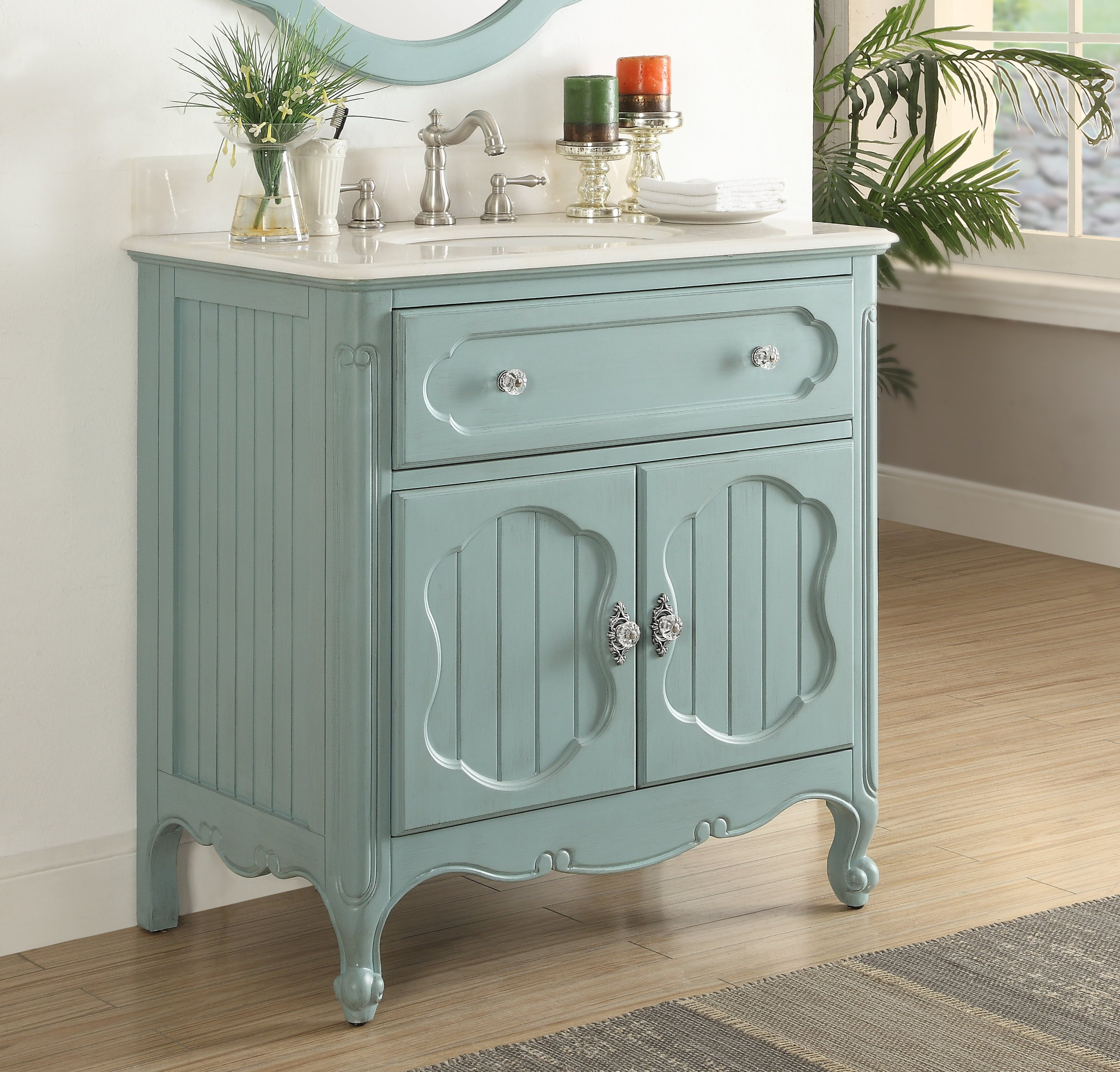 Chans Furniture Zk 1533bu 34 34 Inch Benton Collection Victorian Cottage Style Knoxville Bathroom Sink Vanity