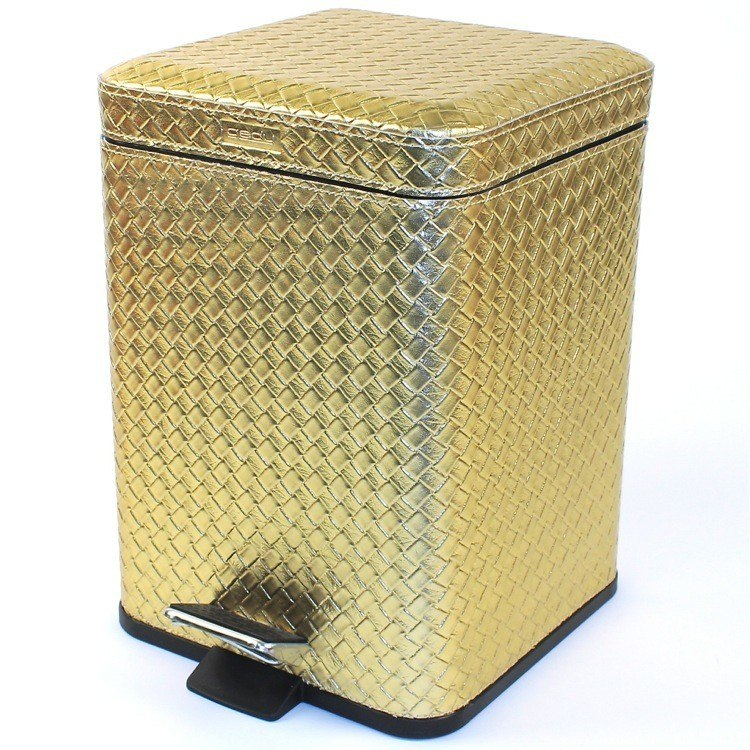 GEDY 6729 MARRAKECH SQUARE FAUX LEATHER WASTE BIN WITH PEDAL