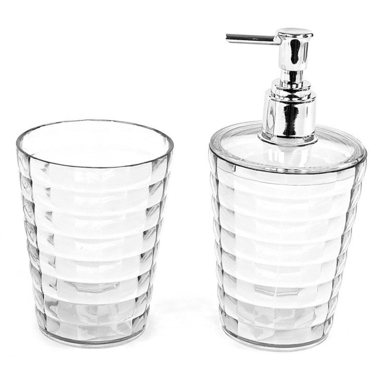 GEDY GL500 GLADY TOOTHBRUSH HOLDER AND SOAP DISPENSER ACCESSORY SET