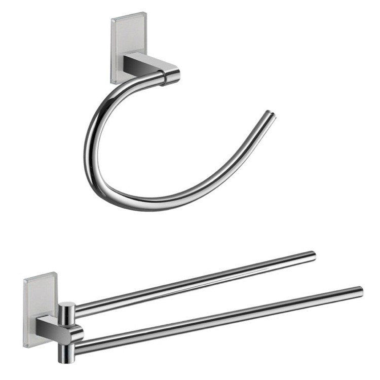 GEDY MNE1270 MAINE AND CHROME TOWEL RING AND SWIVEL TOWEL BAR SET