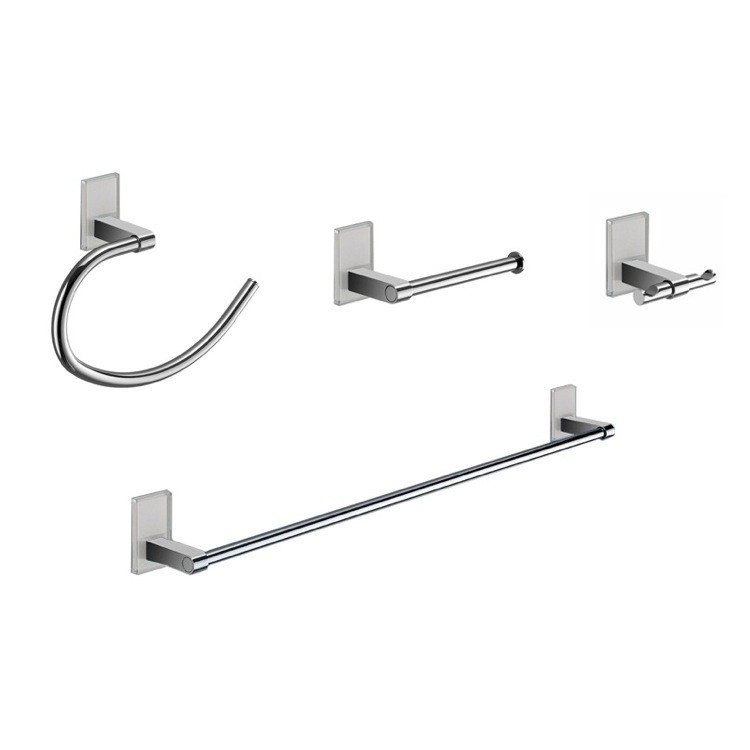 GEDY MNE1800 MAINE AND CHROME 4 PIECE ACCESSORY HARDWARE SET