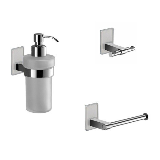 GEDY MNE226 MAINE WALL MOUNTED 3 PIECE AND CHROME ACCESSORY SET