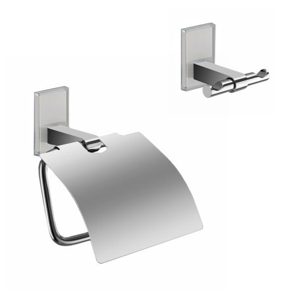 GEDY MNE325 MAINE AND CHROME TOILET ROLL HOLDER AND ROBE HOOK ACCESSORY SET