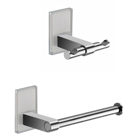 GEDY MNE326 MAINE AND CHROME TOILET ROLL HOLDER AND ROBE HOOK ACCESSORY SET