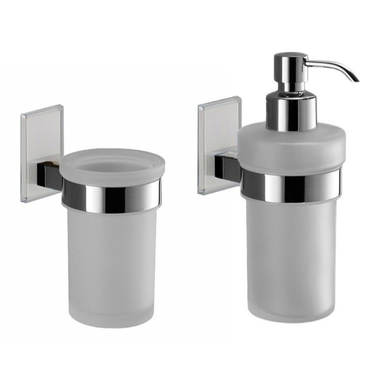 GEDY MNE500 MAINE AND CHROME TOOTHBRUSH TUMBLER AND SOAP DISPENSER ACCESSORY SET