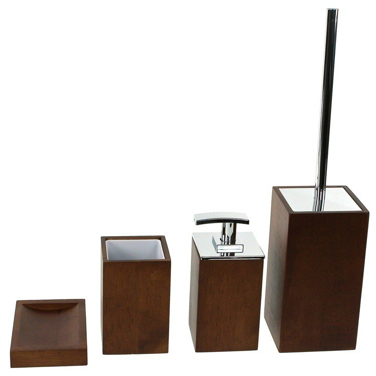 GEDY PA181 PAPIRO WOODEN 4 PIECE BATHROOM ACCESSORY SET