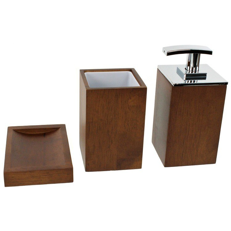 GEDY PA281 PAPIRO WOODEN 3 PIECE BATHROOM ACCESSORY SET