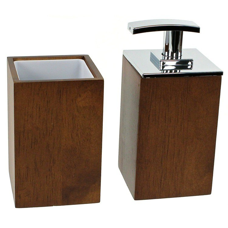 GEDY PA581 PAPIRO WOODEN 2 PIECE BATHROOM ACCESSORY SET