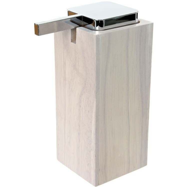 GEDY PA80 PAPIRO SQUARE TALL SOAP DISPENSER IN WOOD