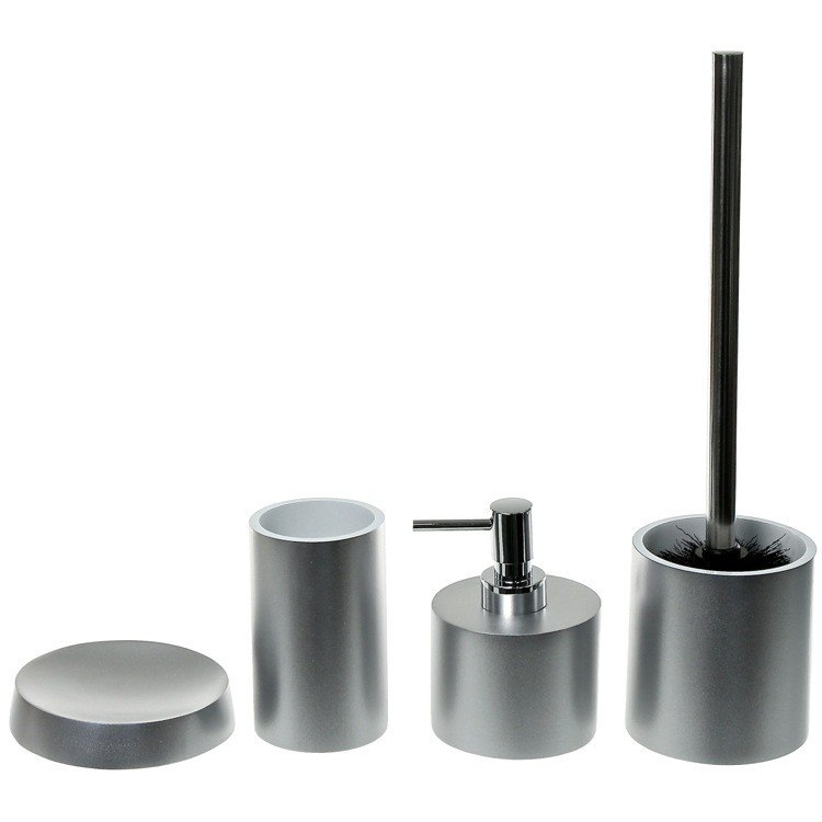 GEDY YU181 YUCCA BATHROOM ACCESSORY SET WITH 4 PIECES, FREE STAND